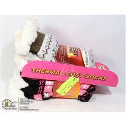 2PK LADIES COZY SLIPPER SOCKS