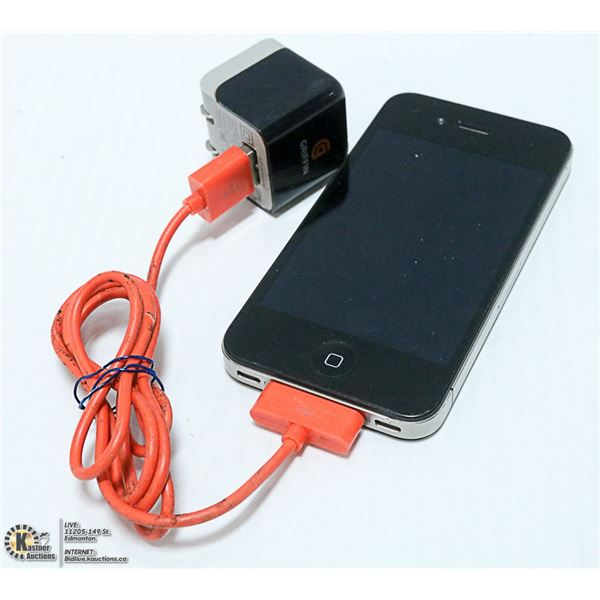 WORKING APPLE IPHONE 4 WITH CORD AND BLOCK
