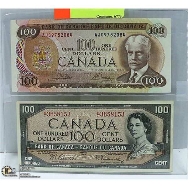 1954, 1975 CANADIAN $100 BILLS