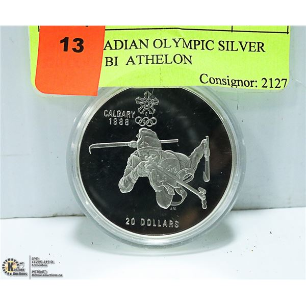 1986 CANADIAN OLYMPIC SILVER $20 COIN BI  ATHELON