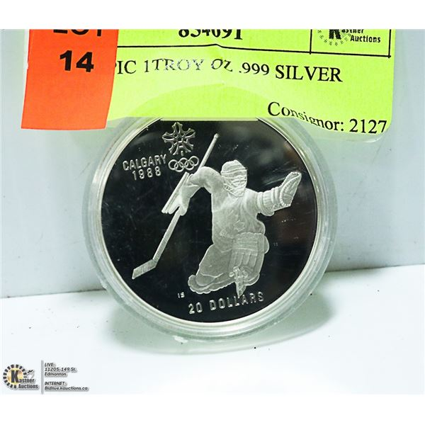 OLYMPIC 1TROY OZ .999 SILVER COIN