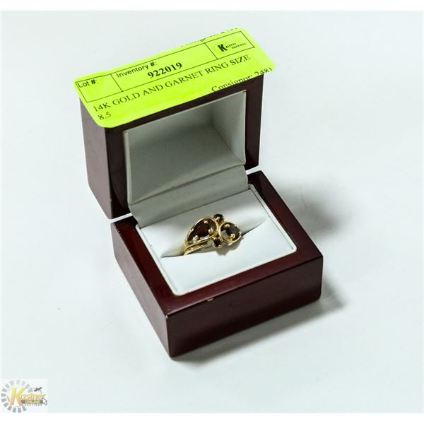 14K GOLD AND GARNET RING SIZE 8.5