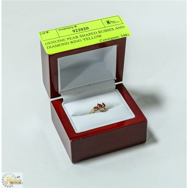 STAMPED 10K YELLOW GOLD GENUINE PEAR SHAPED RUBIES AND DIAMOND RING
