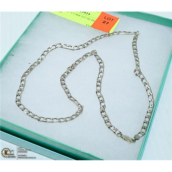 """22"""" CURB STERLING SILVER CHAIN"""