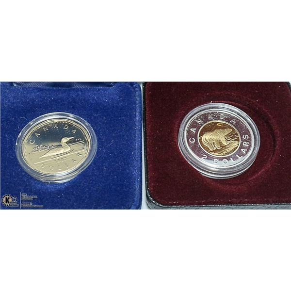 2005 STERLING SILVER PROOF $2 + 1987 PROOF $1