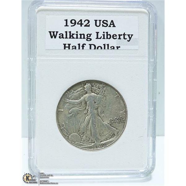 1942 USA 90% SILVER HALF DOLLAR 1/2 OZ. SILVER