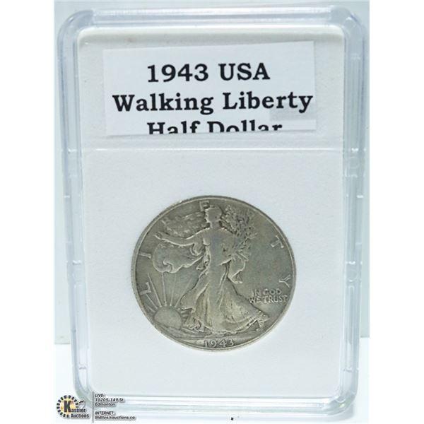 1943 USA 90% SILVER HALF DOLLAR 1/2 OZ. SILVER