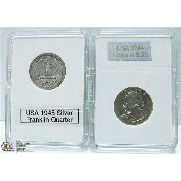 1944 & 1945 USA 90% SILVER QUARTERS