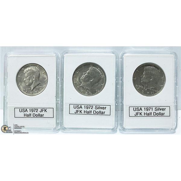 3 USA JOHN F KENNEDY SILVER HALF DOLLARS