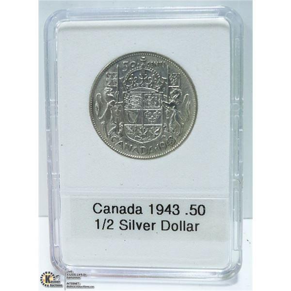 1943 CANADIAN SILVER 1/2 DOLLAR, KING GEORGE VI