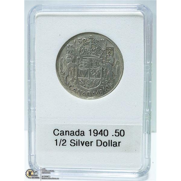 1940 CANADIAN SILVER 1/2 DOLLAR, KING GEORGE VI