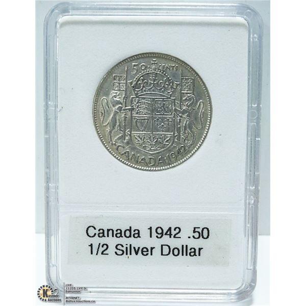 1942 CANADIAN SILVER 1/2 DOLLAR, KING GEORGE VI