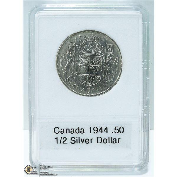 1944 CANADIAN SILVER 1/2 DOLLAR,  KING GEORGE VI