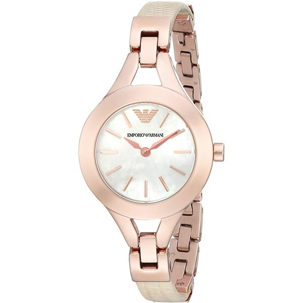 NEW EMPORIO ARMANI ROSE GOLD M-OF-PEARL MSRP $335.
