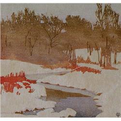 Walter Joseph Phillips - THE STREAM IN WINTER