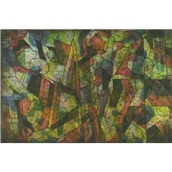 Maxwell Bennett Bates - UNTITLED (FIGURES IN YELLOW AND GREEN)