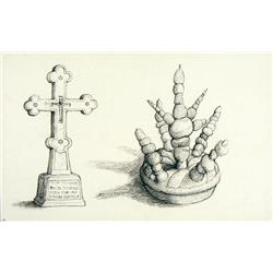 William Kurelek - WHITE WASHED CEMETERY CROSS AND FUNERAL TID BITS OFFERING