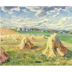 Catherine M. McDowell - UNTITLED (STOOKS IN A FOOTHILLS LANDSCAPE)