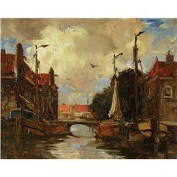 Cornelis Anthonij van Waning - UNTITLED (BOATS ON A DUTCH CANAL)