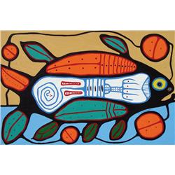 Norval H. Morrisseau - FISH LAYING EGG IN A CIRCLE