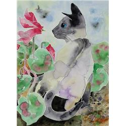 Yone Young - CAT WITH TULIP/UNTITLED (CAT WITH FLOWERS)