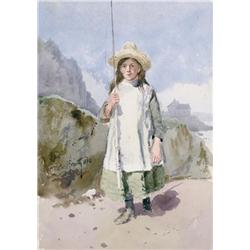 Frederic Marlett Bell-Smith - UNTITLED (GIRL WITH FISHING ROD)