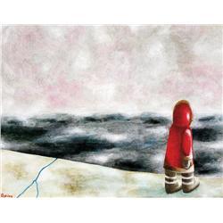 Ferdinando Nichola Spina - RED INUIT ON EDGE IN WHITE LANDSCAPE