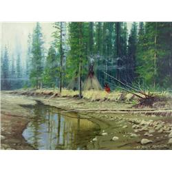 Richard (Rick) K. Berg - UNTITLED (CAMPED BY THE RIVER)