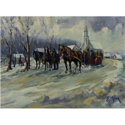 Ernest Marza - UNTITLED (HORSE-DRAWN SLEIGH BY THE CHURCH)