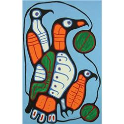Norval H. Morrisseau - EAGLE WATCHING OVER YOUNG