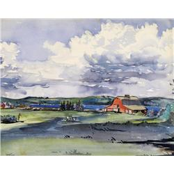 Marion Florence Nicoll - UNTITLED (RED BARN ON THE RIVERFRONT)