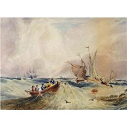 Clarkson Stanfield - UNTITLED (FISHING VESSELS AND DINGHY IN CHOPPY WATERS)