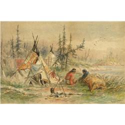 Frederick Arthur Verner - INDIAN ENCAMPMENT ON THE SHORE OF A LAKE