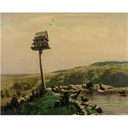 Alfred Crocker Leighton - UNTITLED (BIRDHOUSE AND DUCK POND OVERLOOKING THE FOOTHILLS)