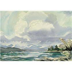 Margaret Dorothy Shelton - UNTITLED (LAKE WITH DISTANT MOUNTAINS)