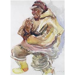 Kathleen Frances Daly Pepper - UNTITLED (INUIT MAN SMOKING A PIPE)