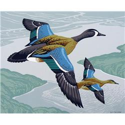 Alfred Joseph Casson - UNTITLED (BLUE-WINGED TEALS IN FLIGHT)