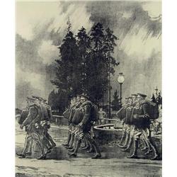 Charles William Jefferys - DEPARTURE OF THE SIBERIAN BATTERY FROM PETAWAWA CAMP