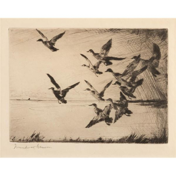 Frank Benson, two etchings