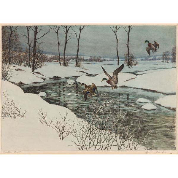 Hans Kleiber, hand-colored etching
