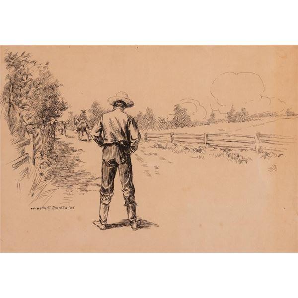 W. Herbert Dunton, pen and ink