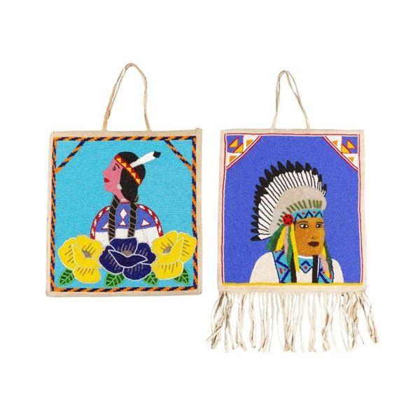 Pair of Pictorial Beaded Bags