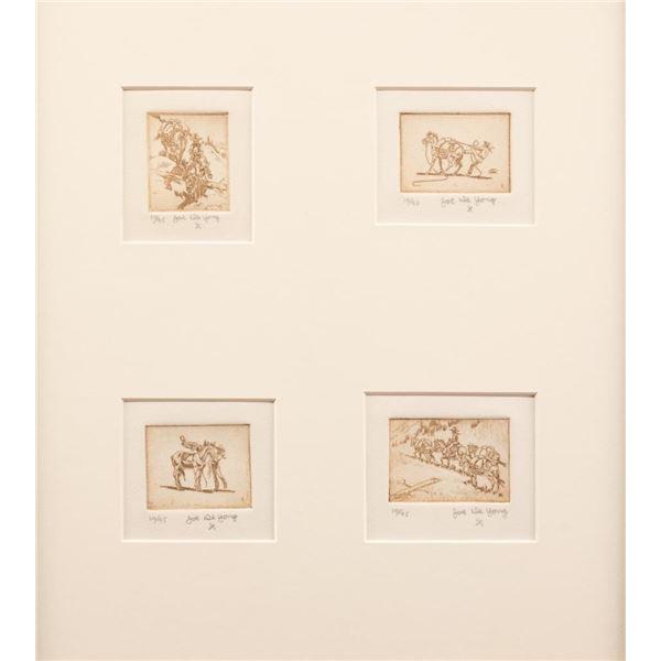 Joe de Yong, four etchings framed together
