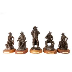 Bob Scriver, Coffee Break Series, set of 5 bronzes