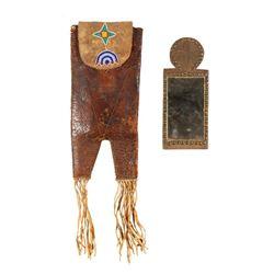 "Northern Plains Beaded Mirror & Mirror Bag, 9.5"" x 3.75"""