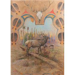 Olaf C. Seltzer, oil on elk hide