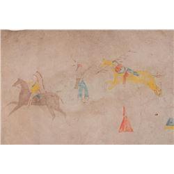 Indian Painted Longhorn Hide
