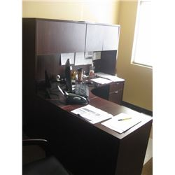 66 INCH L-SHAPE DESK WITH HUTCH