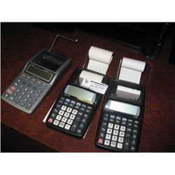 THREE SMALL PAPER CALCULATORS