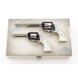 Cased Pair of Colt H. Cook Commem. Silver Anniversary Revolvers